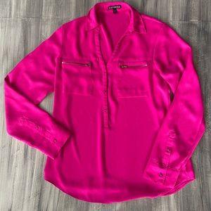 Express bright pink fuchsia portifino blouse